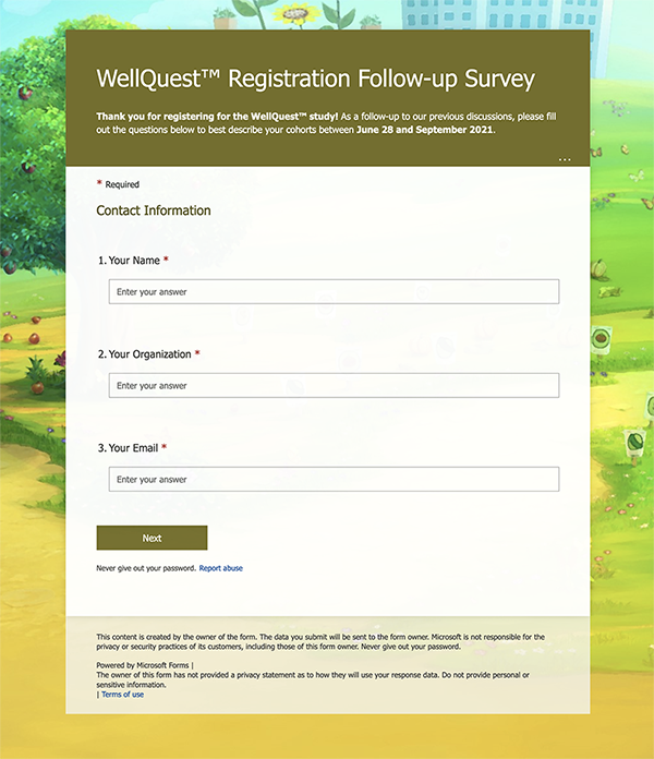 Join the WellQuest Pilot program by completing a brief survey